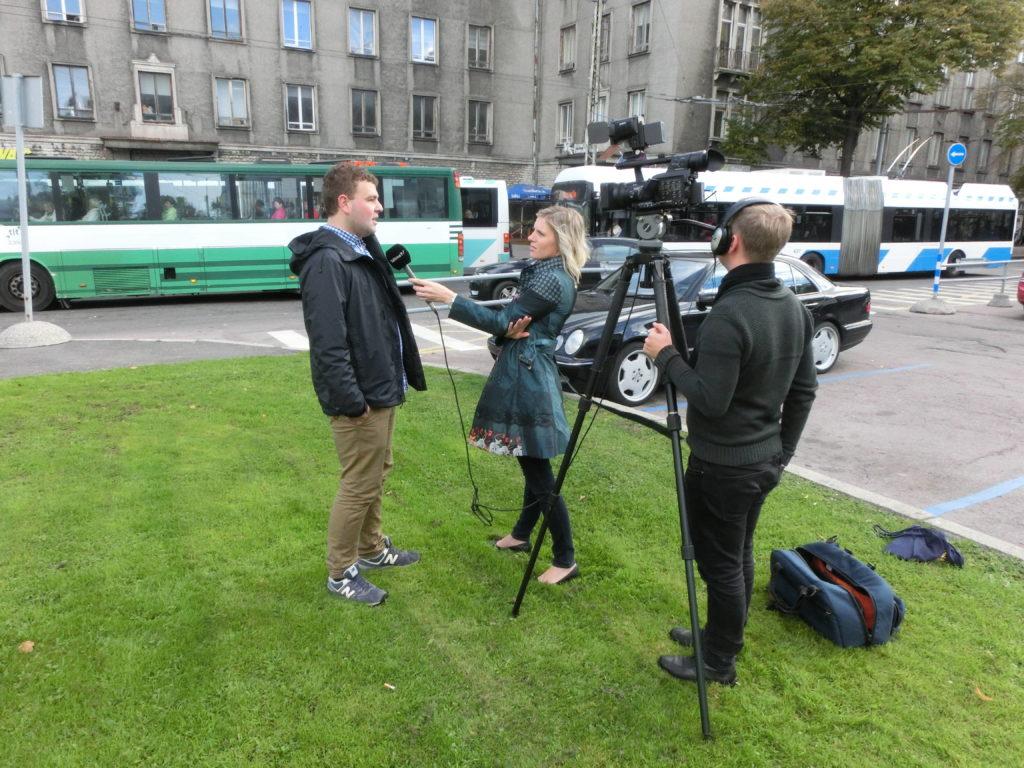 Interview für einen TV-Sender in Tallinn.